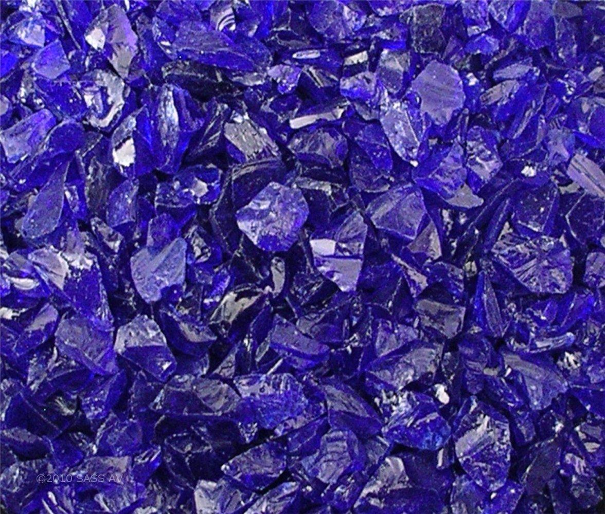 """Fire Pit Glass Rocks, ~3/8-1/2"""" COBALT BLUE, 40 LBS"""