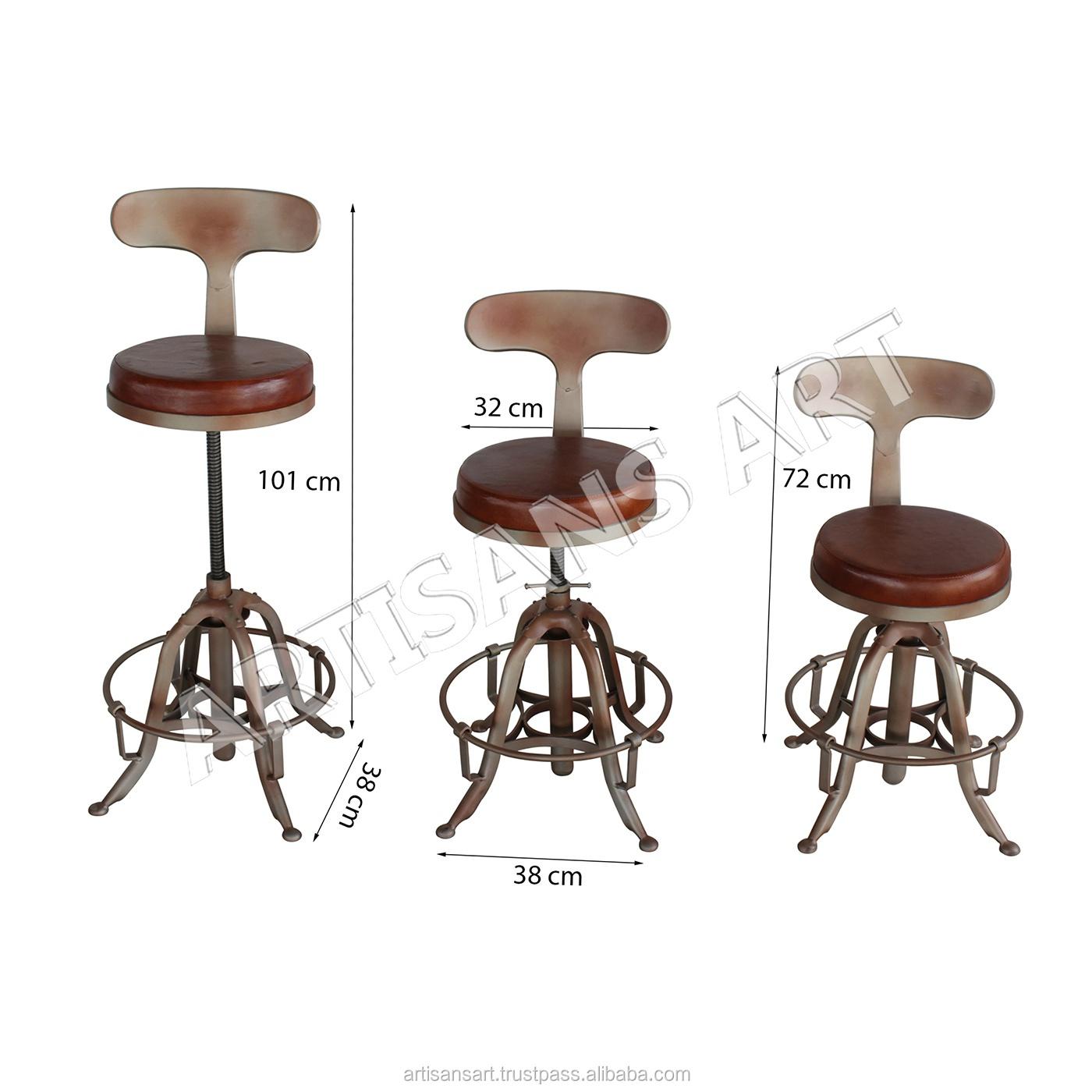 Vintage Antique En Cuir Reglable En Hauteur Siege Chaise De Bar