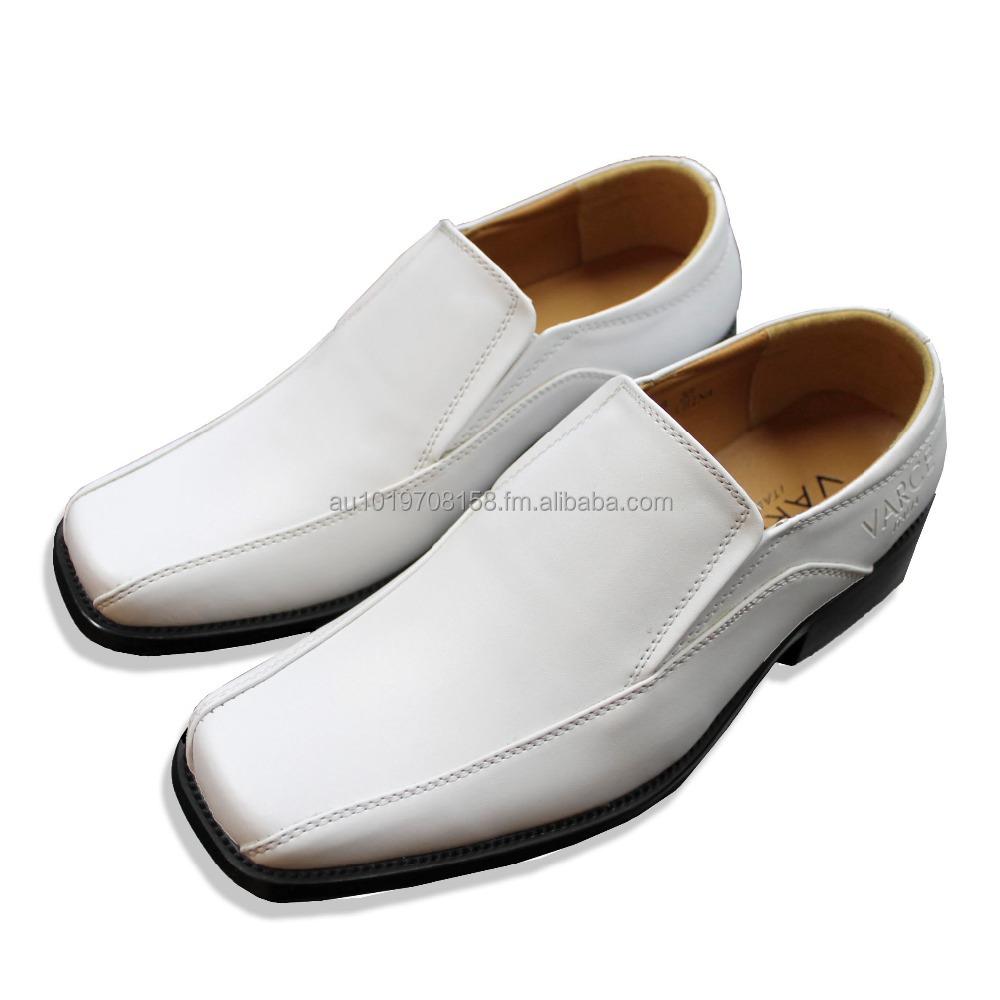 White Square Toe Slip On Dress Shoes