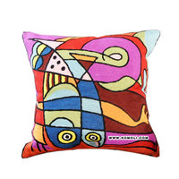 Fishi purple hand embroidered cushion covers handmade throw pillow cover
