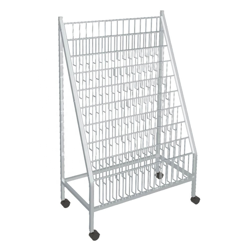 Weiß metall draht magazin rack display stand