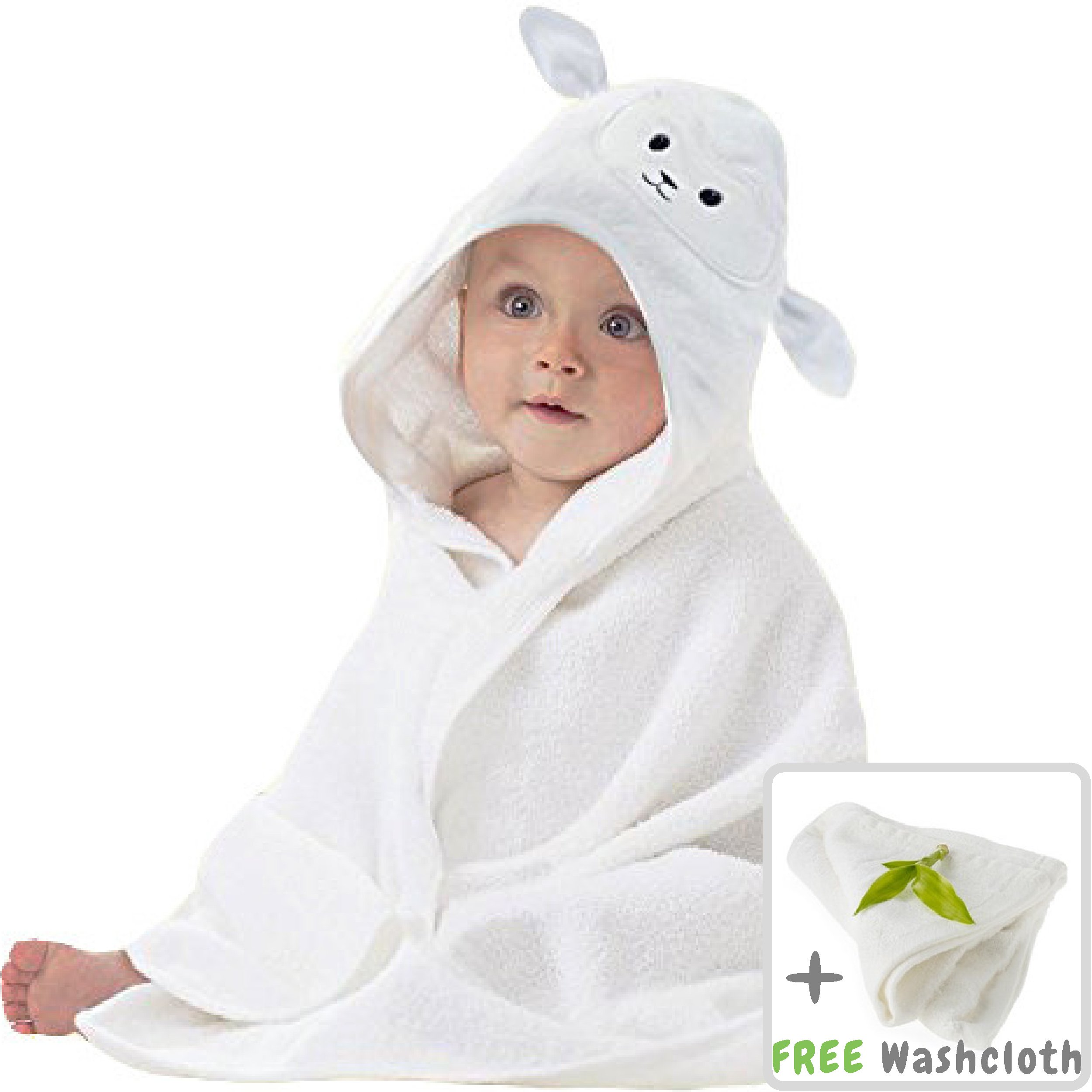 ad7aa0ef8bf0 Get Quotations · Organic Bamboo Baby Hooded Towel with Bonus Washcloth |  Ultra Soft and Super Absorbent Toddler Hooded