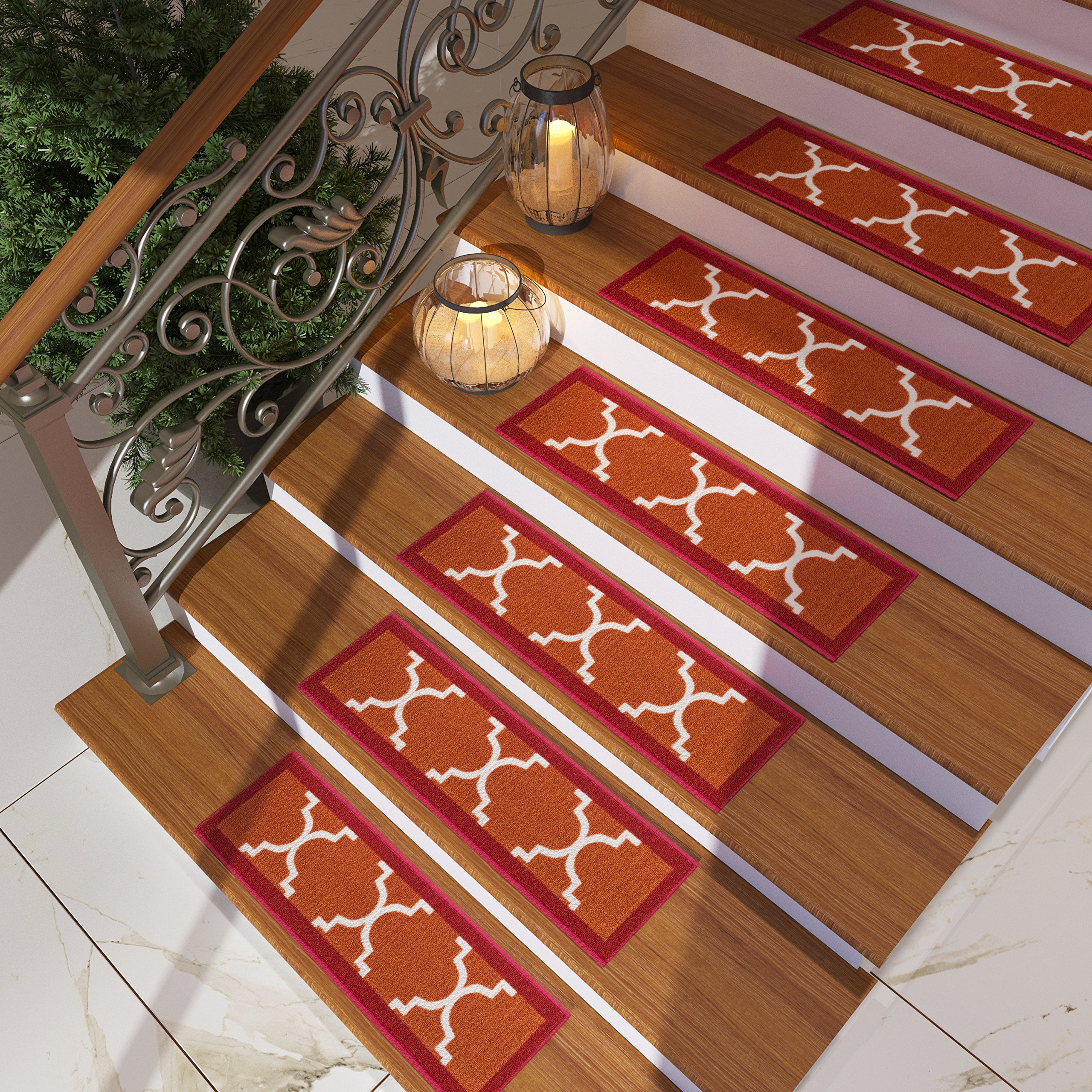Ordinaire [Set Of 7] Red Stair Tread Rugs | Modern Design Trellis Lattice Carpet Pads