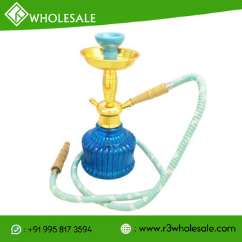 R3 12 Inch Tall Glass Smoking Hookah With Metal Plate Ash Catcher And Ceramic Bowl