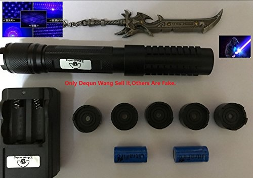 Dequn Wang 1000M High PowerLaser Pointer Blue Lazer Projector Type-2 Powerful 405nm Blue Pen,Light Match Tool With Dequn Wang Logo Keychain As Picture(Only Dequn Wang Sell it,Others Are Fake)