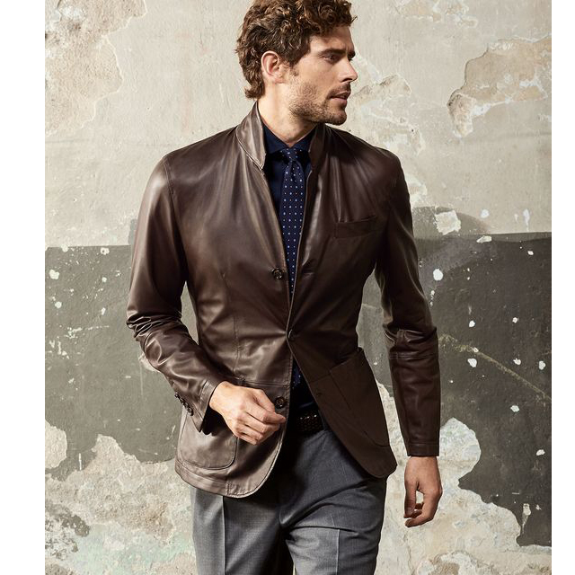 Menswear Brown Leather Blazer Jacket Semi Formal Outfit