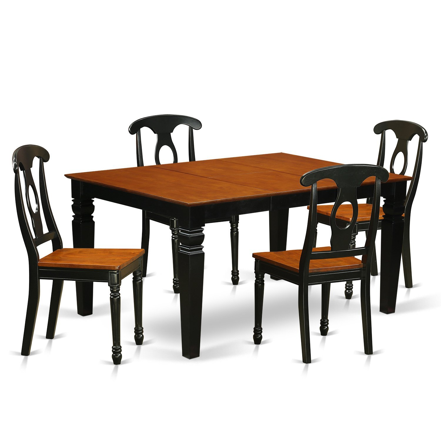 East West Furniture Weston WEKE5-BCH-W 5 Pc Set with a Kitchen Table and 4 Wood Dining Chairs, Black