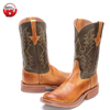 2018 Barcelona Collection with Double H Mens Western Wide Square Toe Cowboy Boots Tan