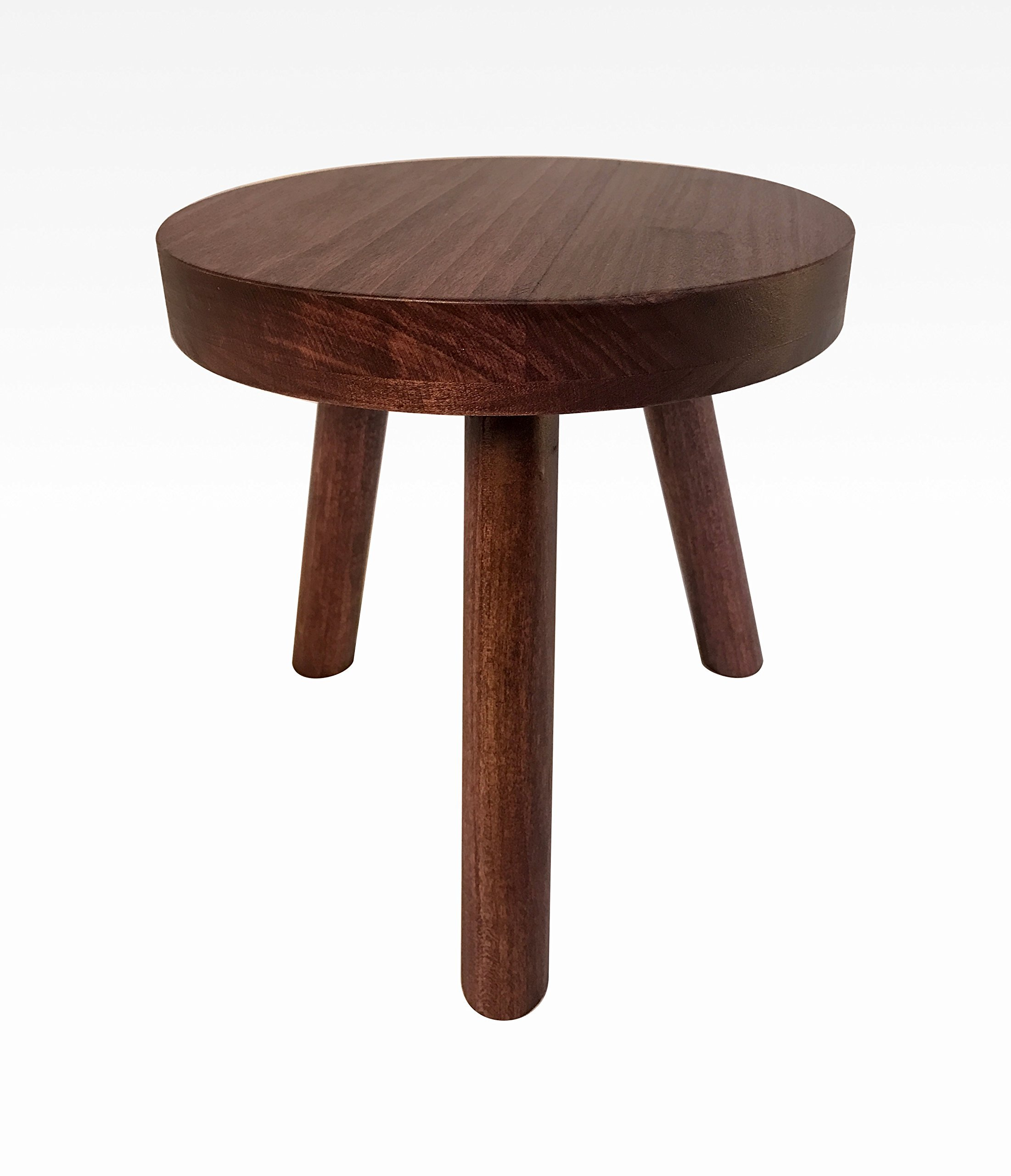 Small Wood Three Legged Stool, Modern Plant Stand in Black Cherry by Candlewood Furniture, Wooden, Tea Table, Kids Chair, Decorative