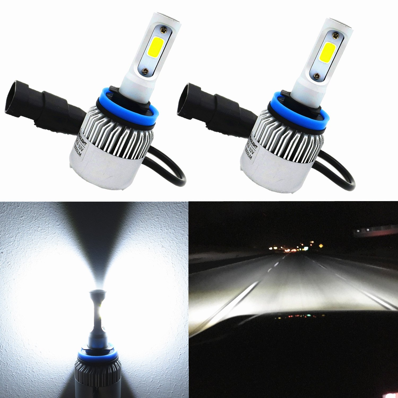 Alla Lighting COB Vision LED H11 Headlight Bulb 8000lm Xtremely Super Bright H8 H9 H11 LED Headlight Bulb Xenon H11 6000K ~ 6500K White All In One Headlamp Conversion Kits Bulbs (Set of 2)