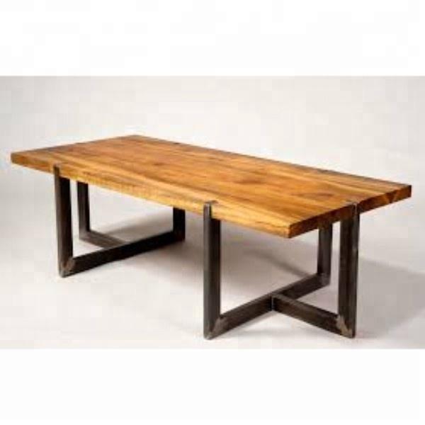Industrial Ferro Do Vintage Mesa De Jantar Pernas De Metal Madeira De Acácia Borda Ao Vivo Buy Live Edge Wood Slab Tables Cross Leg Dining Table Chunky Wood Dining Table Product