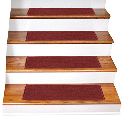 """Gloria Rug Skid-Resistant Indoor/Outdoor Rubber Backing Gripper Non-Slip Carpet Stair Treads-Machine Washable Stair Mat Area Rug (SET OF 7), 8.5"""" x 26"""", Red"""