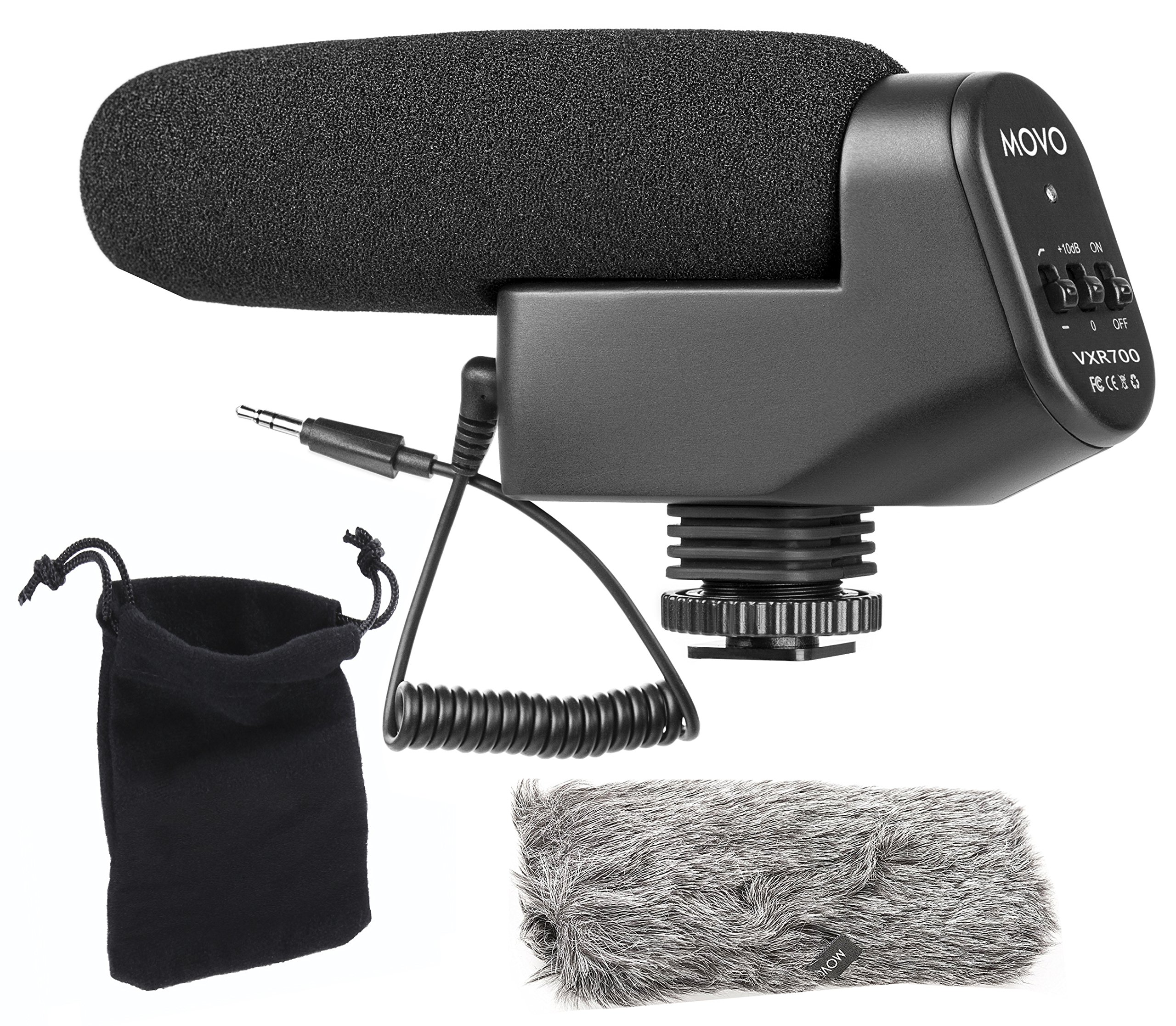 Movo VXR700 Shotgun Condenser Video Microphone with Integrated Shockmount, 10dB Gain Switch, Low Cut Filter, Foam & Deadcat Windscreens & Carry Case - For DSLR Cameras & Camcorders