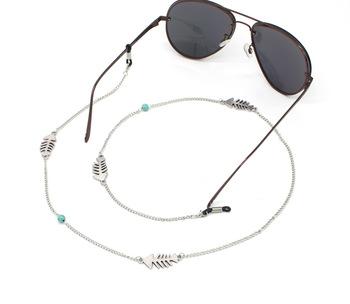 4e54386e7621 Hand-made Turquoise Fish Bone Simple Girl Sunglasses Accessories Silver Eyeglass  Chain
