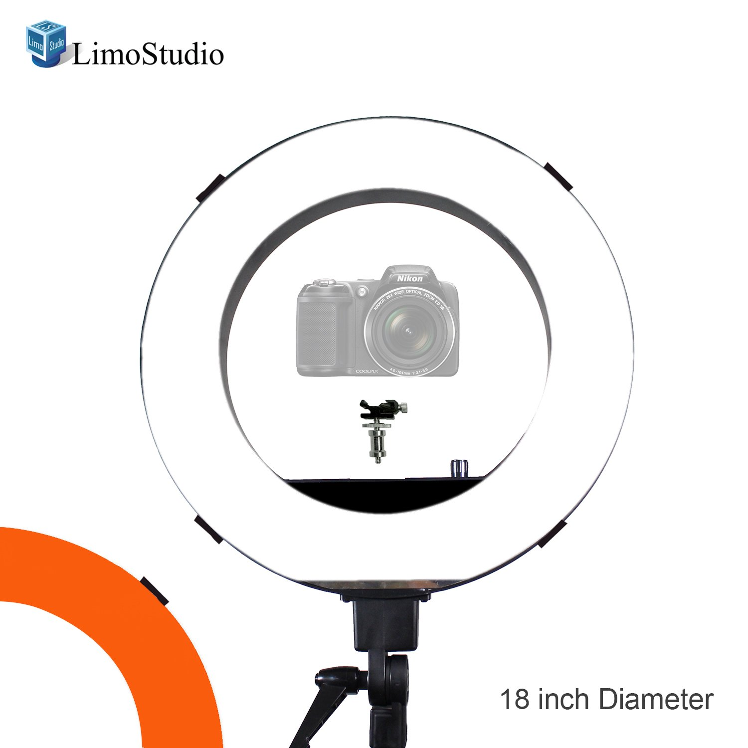 LimoStudio 18 inch Fluorescent 5500K Dimmable Ring Light and Portrait Light with Ring Light Diffuser Cloth (White, Orange) for less Contrast and Soft Lights, Warm to Cool Colors, AGG2328V2