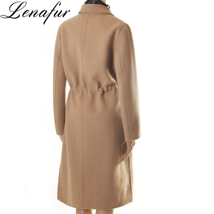 Hot Sale Winter Women Lady New Custom Design Fashion Slim Long Double Face Cashmere Wool Coat,Sheep Fur Overcoat With String