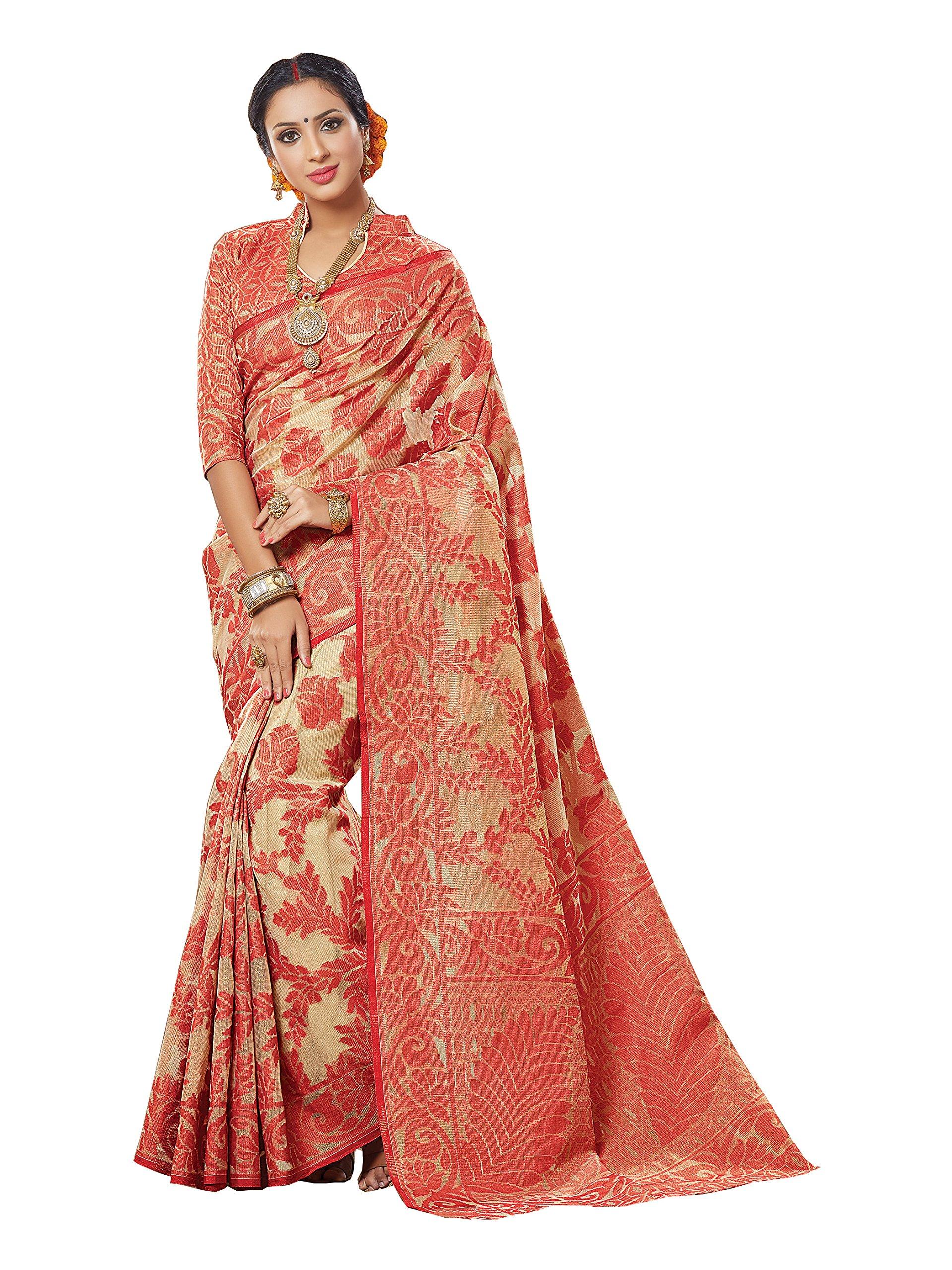 Shonaya Women's Designer Party Wear Woven Work Banarasi Silk Saree With Unstitched Blouse Piece (Orange)