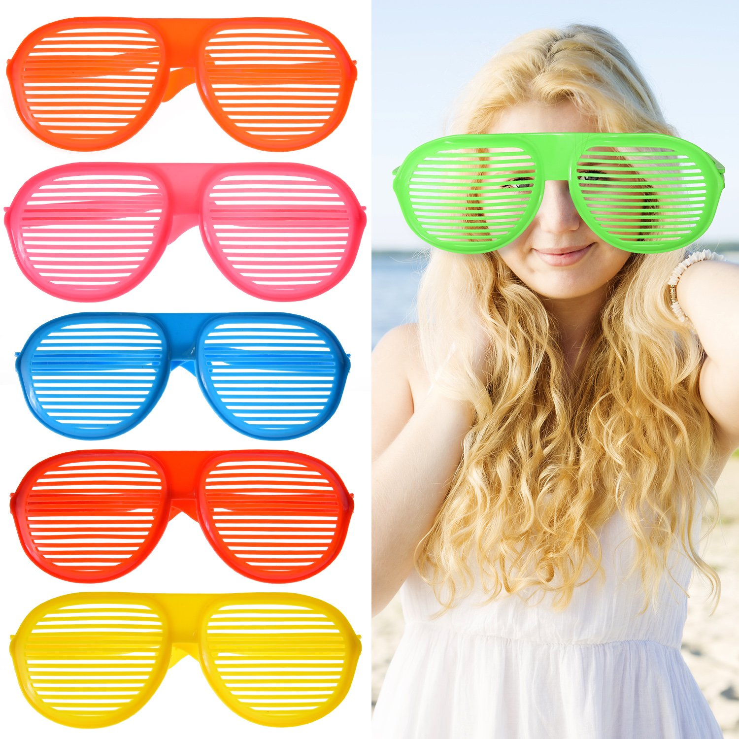 09d856e8e100 Get Quotations · BBTO 6 Pieces Shutter Glasses Party Shades Sunglasses  Jumbo Plastic Glasses for Halloween Christmas Party Cosplay