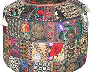 """Indian Vintage Patchwork Ottoman Pouf, Living Room Pouf, Foot Stool, Round Ottoman Cover Pouf, Floor Pillow Ottoman Poof, Cotton Cushion Ottoman Cover 14 x 22"""" (Ottoman Pouf Cover)"""
