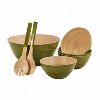 Natural kitchen utensil set bamboo bowl and cutlery