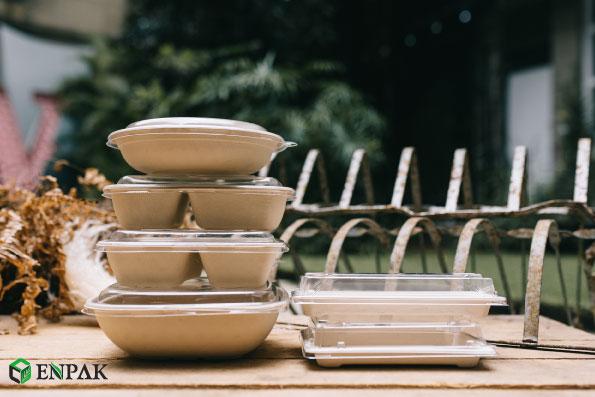 Hot selling square take away bagasse food box biodegradable bagasse box