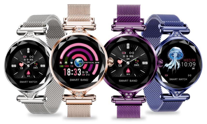 New design fashion girls watch H1 round led screen smart watch female heart rate waterproof IP67 blood pressure bracelet