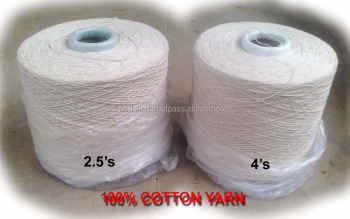 100% COTTON YARN 2.5 single 4s for Wet Mops, Dust Mop, Dhurries Dusters, Twisted Ropes, Mop yarn. Very Economical cheap rate