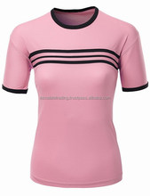 Womens Roundneck Short Sleeve T Shirt with Stripes