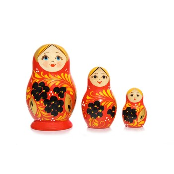 Three piece Vyatskaya Russian Wooden Dolls, C-4 (107)