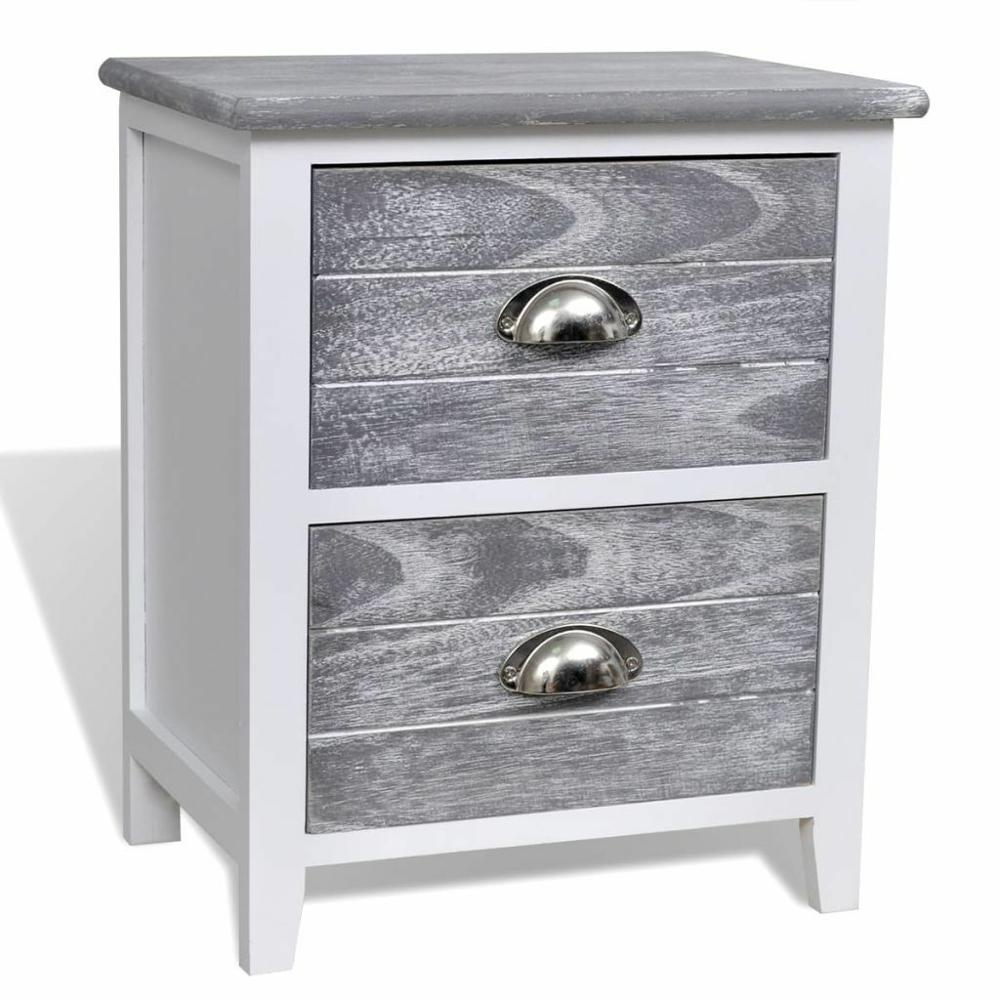 Iron Wood Shabby Chic Bedside Table