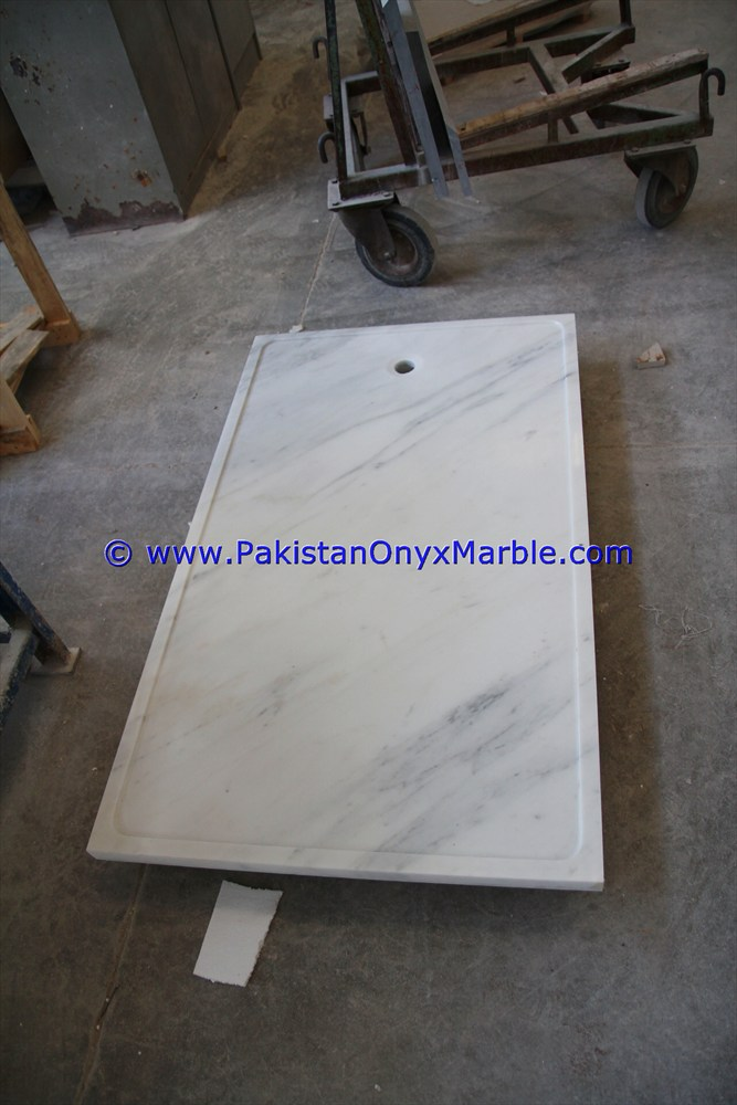 Natural square marble shower tray handcarved natural stone bathroom decor Ziarat White Carrara marble shower trays