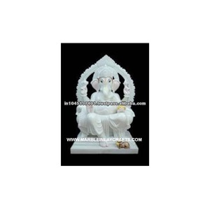 White Marble Indian God, Ganesha Marble Idol