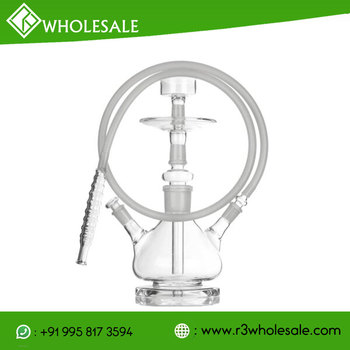 11.5 inch Tall Single Or Double Hose Hand Blown Boroscilicate Glass Hookah wholesale