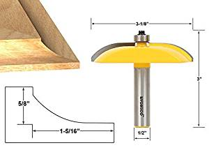 Yonico 12133 Raised Panel Router Bit with Cove Door 3-1/8-Inch Diameter 1/2-Inch Shank by Yonico