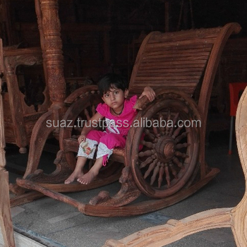 Luxury Wooden Swing Chair , Room Carved Jhula Chair , Antique Heavy Wood  Rocking Chair ,