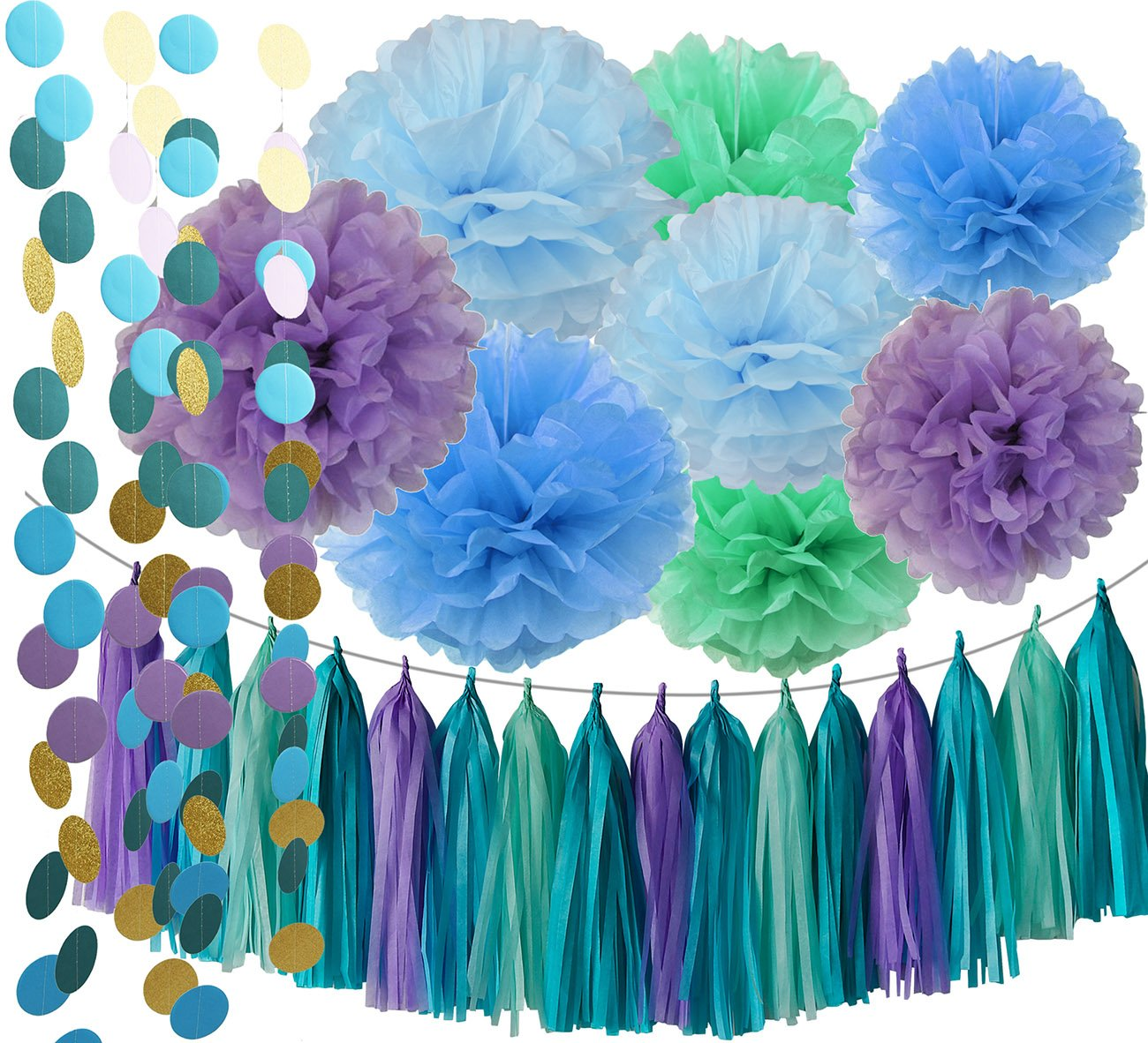 under the sea party suppliesmermaid decorations teal purple blue mint tissue pom poms first birthday decorations baby shower decorations purple mermaid