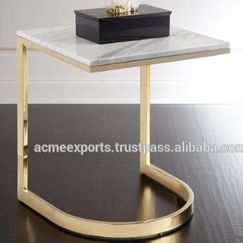 Contemporary Table Stainless Steel Small Coffee Side Table | Marble Top Gold Coffee Table