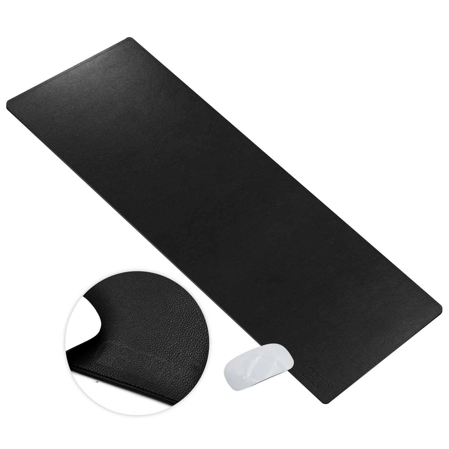 "Cacoy Extended PU Artificial Leather Desk Pads Protector-Size 39.4""L x 15.7""W-Large Smooth Surface Waterproof Mouse Pad Desktop Protective Mat for Home&Office Table Computer Laptop Keyboard Pad-Black"