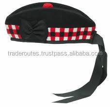 New Scottish Glengarry Brand CC Plain Hat Red Pompom on Top 100/% Wool cotton