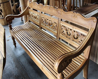 Classic Minimalis carved teak bench