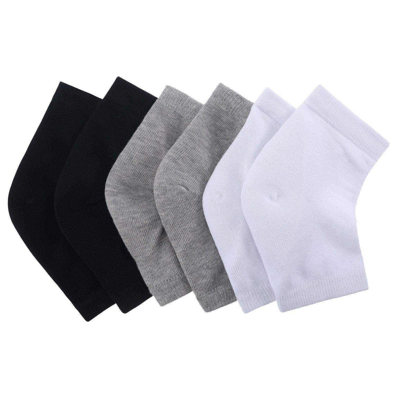 ff0349160 Get Quotations · Bememo 3 Pairs Foot Spa Moisturizing Gel Socks Open Toe  Heel Socks for Dry Hard Cracked