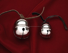SOLID BRASS SILVER SLEIGH BELLS WITH LEATHER STRAP, SILVER SLEIGH BELLS, SANTA SLEIGH BELLS, KEEPSAKE CHRISTMAS SLEIGH BELLS