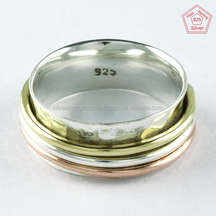 Smart Three Tone Triple Band Plain Silver 925 Sterling Silver Wholesale Price Spinner ring Jewellery Supplier India