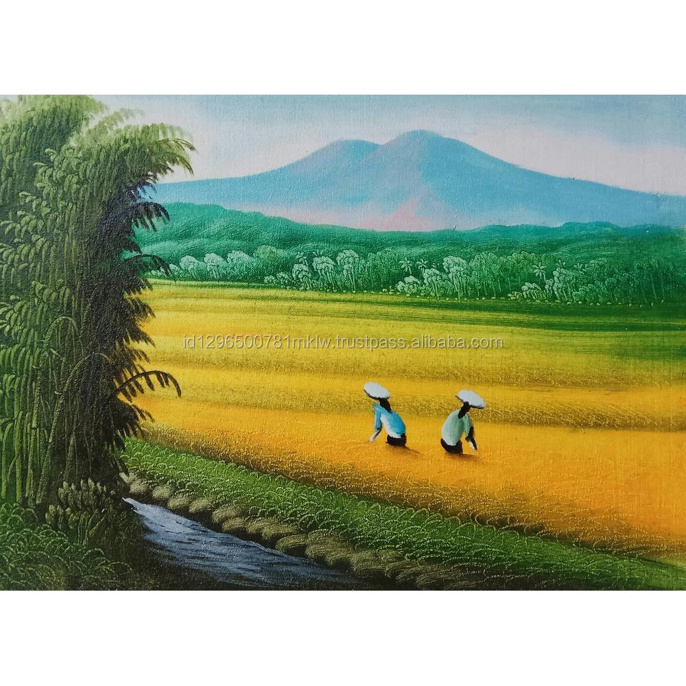 Handmade Realistic Bali Rice Field Painting On Canvas Modern Wall ...