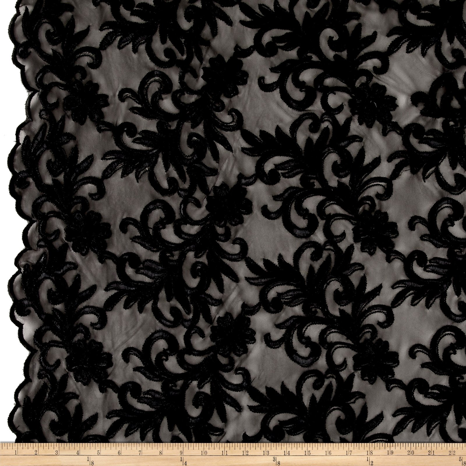 Ben Textiles Inc. Heavyweight Embroidered Mesh Lace Black Fabric By The Yard