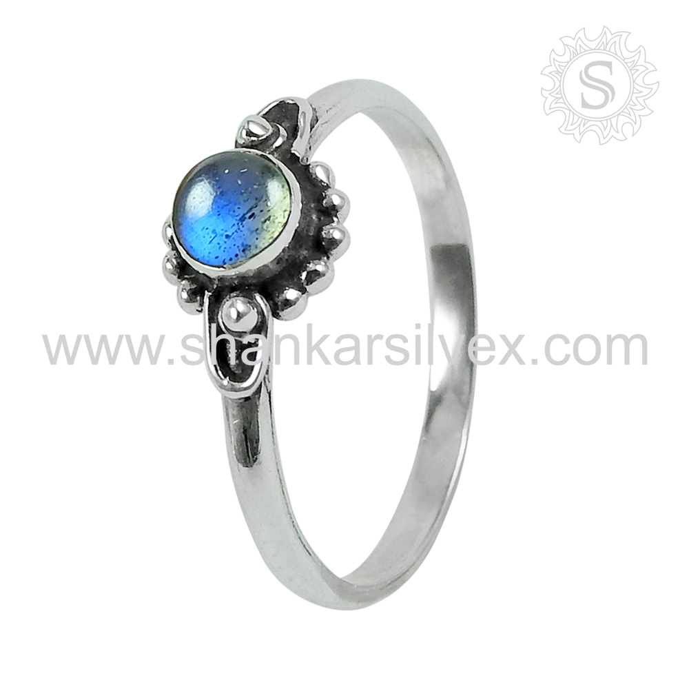 Short and sweet design labradorite gemstone ring 925 sterling silver jewelry exporter fine gift jewellery online