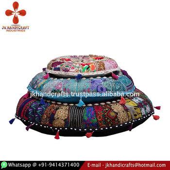 Wholesale Sari Patchwork Round Shape Floor Cushions Handmade Floor ...