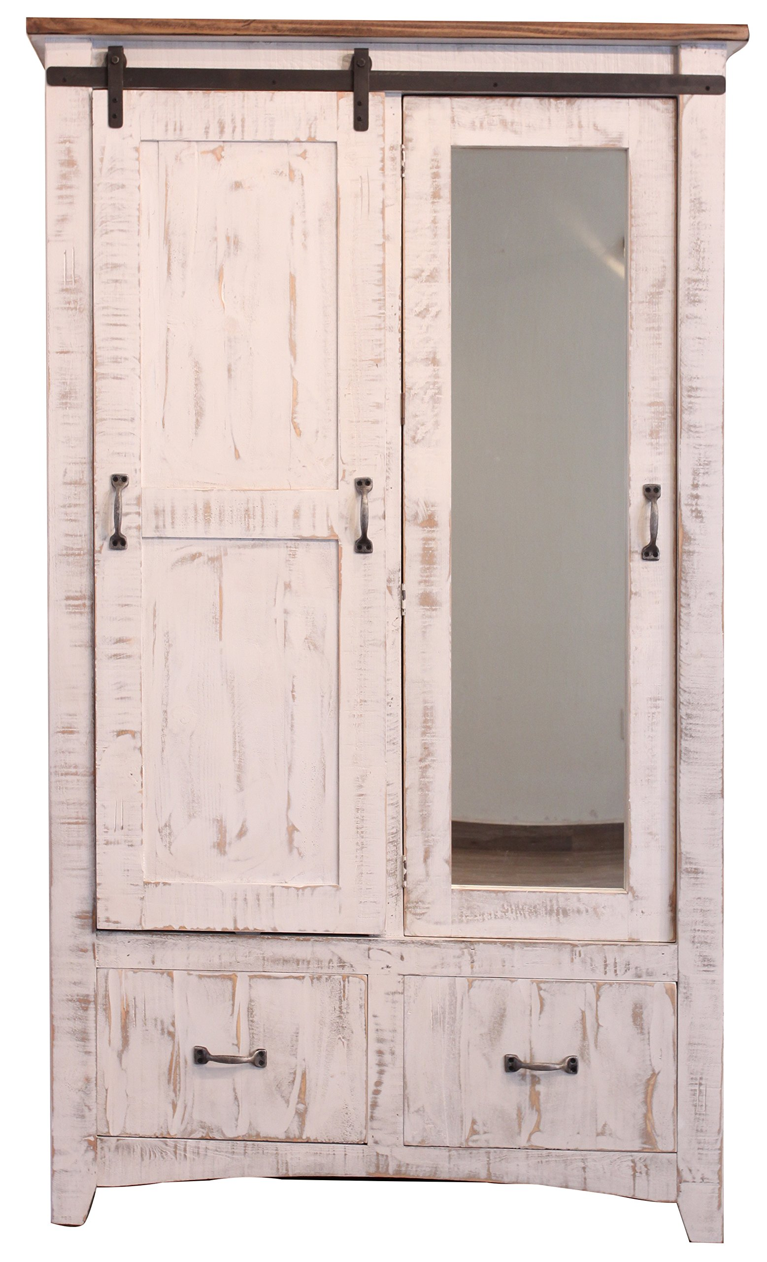 Get Quotations · Distressed White Anton Sturdy Solid Wood Sliding Barn Door  Bedoom Armoire With Hanging Storage And Functional