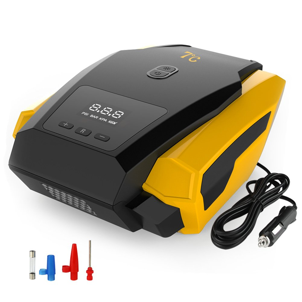7℃ Portable Tire Inflator Pump, 12V Auto Digital Electric Emergency Air Compressor Pump for Car, Truck, SUV, Basketballs and Other Inflatables