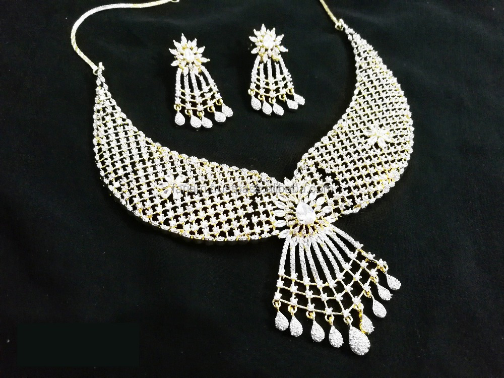 Marvelous White Color Gold Plated American Diamond Necklace Earrings Set